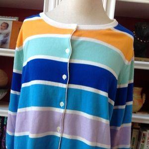 Lands End Pastel Stripe Cardigan Sweater 2X